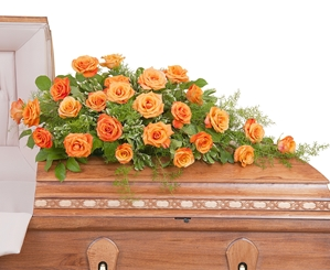Orange Rose Casket Spray - As Shown (Deluxe)