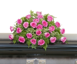 Pink Rose Casket Spray - As Shown (Deluxe)